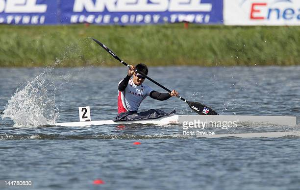 Hiroki Watanabe of Japan competes in the men's kayak single 200m heat during day two of the ICF Canoe Sprint World Cup 2012 at Malta Regatta Course...