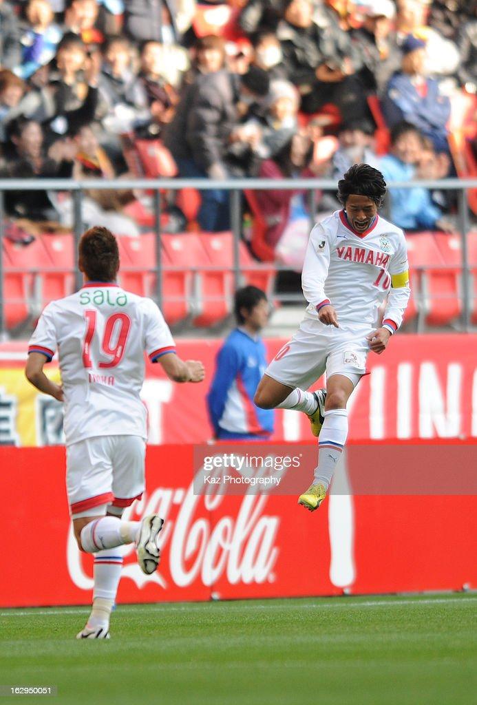 Hiroki Yamada of Jubilo Iwata celebrates his equaliser during the J.League match between Nagoya Grampus and Jubilo Iwata at Toyota Stadium on March 2, 2013 in Toyota, Aichi, Japan.