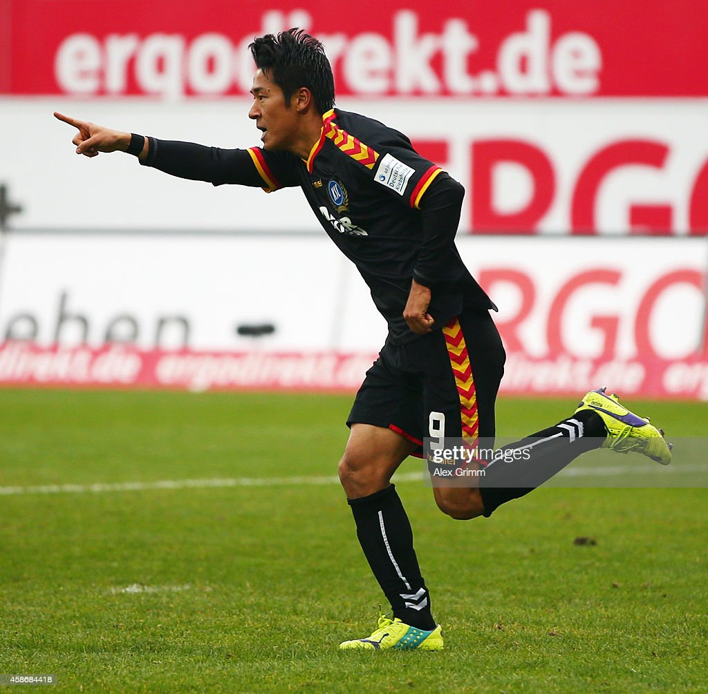 Hiroki Yamada of Karlsruhe celebrates his team's first goal during the Second Bundesliga match between Greuther Fuerth and Karlsruher SC at...