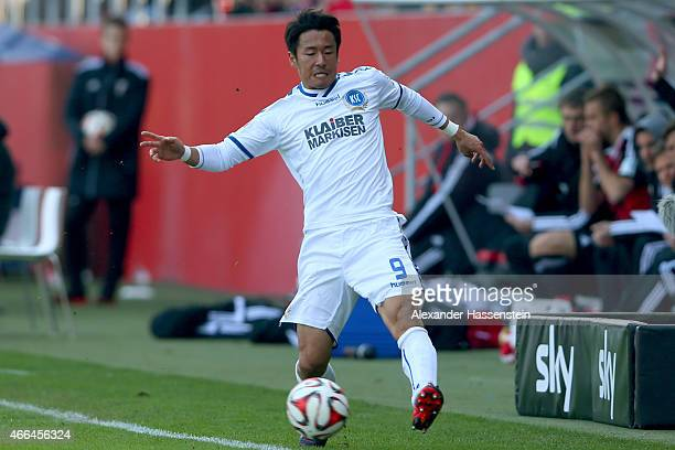 Hiroki Yamada of Karlsruhe runs with the ball during the Second Bundesliga match between FC Ingolstadt and Karlsruher SC at Audi Sportpark on March...