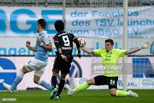 Hiroki Yamada of Karlsruhe scores his team's third goal past goalkeeper Stefan Ortega of 1860 Muenchen during the Second Bundesliga match between...