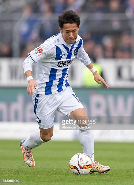 Hiroki Yamada of Karlsruher SC during the second bundesliga match between Karlsruher SC and 1 FC Heidenheim at Wildpark Stadium on March 13 2016 in...