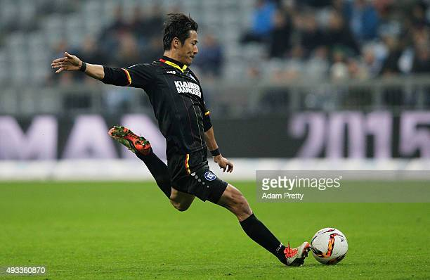Hiroki Yamada of Karlsruher SC in action during the 2 Bundesliga match between 1860 Muenchen and Karlsruher SC at Allianz Arena on October 19 2015 in...