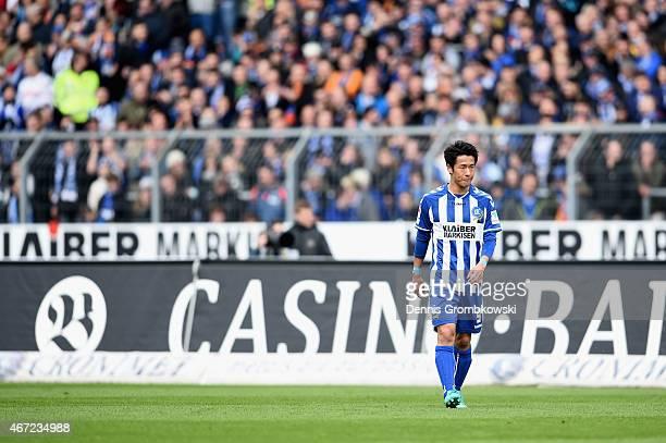 Hiroki Yamada of Karlsruher SC in action during the Second Bundesliga match between Karlsruher SC and 1 FC Kaiserslautern at Wildpark Stadium on...