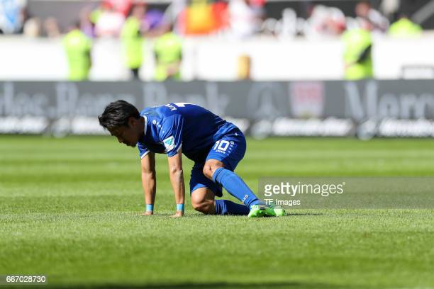 Hiroki Yamada of Karlsruher SC looks dejected during the Second Bundesliga match between VfB Stuttgart and Karlsruher SC at MercedesBenz Arena on...