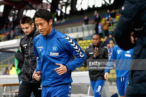 Hiroki Yamada of Karlsruher SC warms up prior to kickoff during the Second Bundesliga match between Karlsruher SC and 1 FC Kaiserslautern at Wildpark...