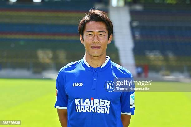 Hiroki Yamada poses during the Karlsruher SC team presentation at Wildpark Stadion on July 27 2016 in Karlsruhe Germany