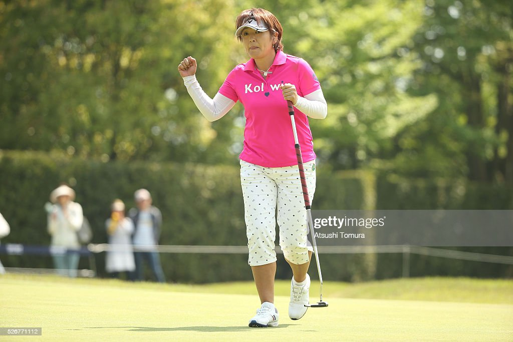 Hiroko Fukushima of Japan celebrates after making her birdie putt on the 15th hole during the final round of the CyberAgent Ladies Golf Tournament at the Grand Fields Country Club on May 1, 2016 in Mishima, Japan.