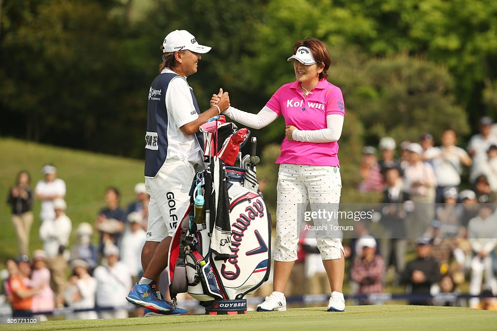 Hiroko Fukushima of Japan celebrates after winning the CyberAgent Ladies Golf Tournament at the Grand Fields Country Club on May 1, 2016 in Mishima, Japan.
