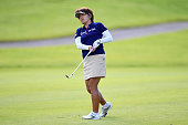 Hiroko Fukushima of Japan hits her second shot on the 1st hole during the final round of the Century 21 Ladies Golf Tournament 2016 at the Izu Daijin...