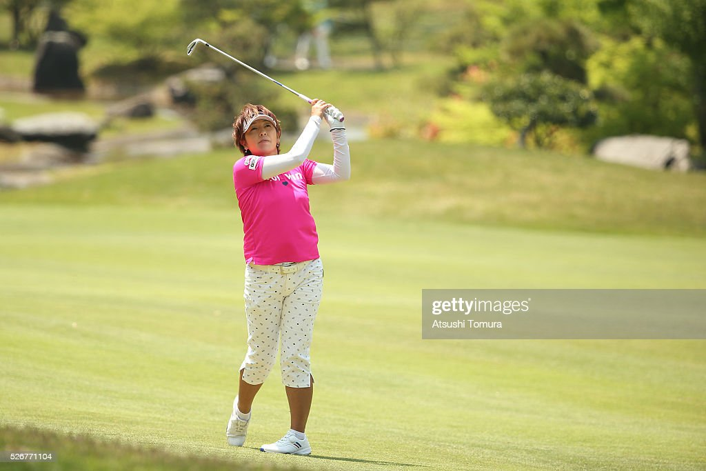 Hiroko Fukushima of Japan hits her second shot on the 9th hole during the final round of the CyberAgent Ladies Golf Tournament at the Grand Fields Country Club on May 1, 2016 in Mishima, Japan.