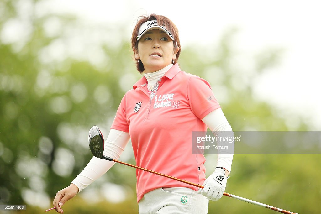 <a gi-track='captionPersonalityLinkClicked' href=/galleries/search?phrase=Hiroko+Fukushima&family=editorial&specificpeople=9192547 ng-click='$event.stopPropagation()'>Hiroko Fukushima</a> of Japan looks on during the first round of the CyberAgent Ladies Golf Tournament at the Grand Fields Country Club on April 29, 2016 in Mishima, Japan.