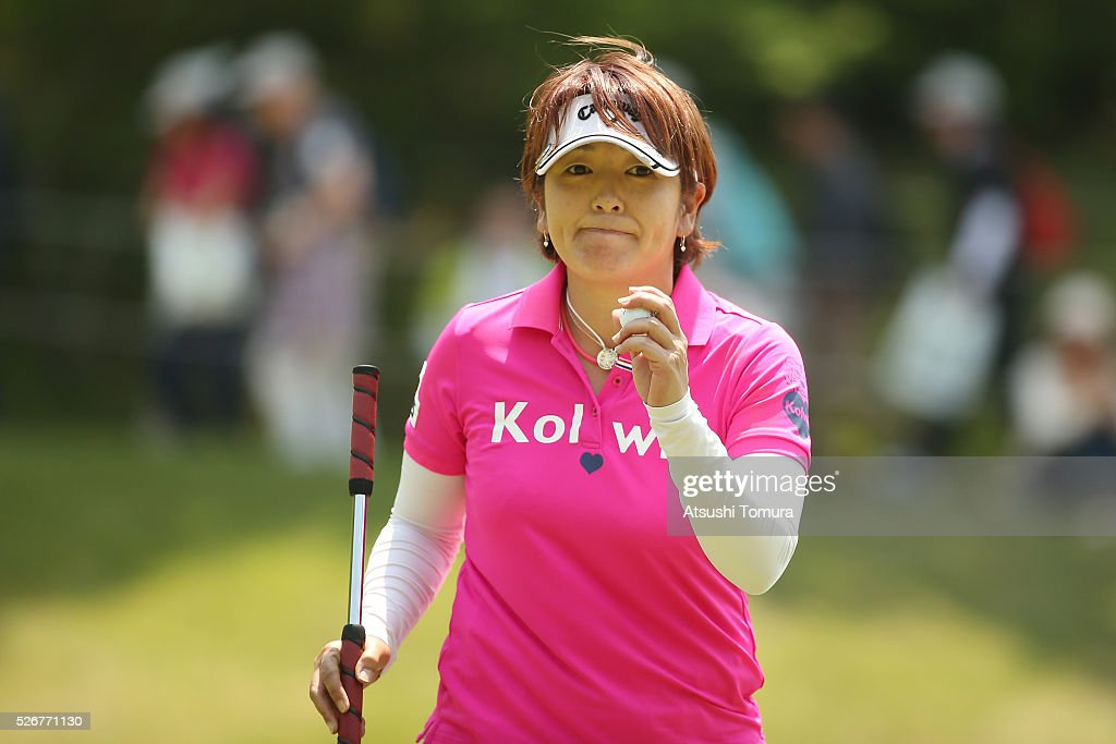Hiroko Fukushima of Japan reacts during the final round of the CyberAgent Ladies Golf Tournament at the Grand Fields Country Club on May 1, 2016 in Mishima, Japan.