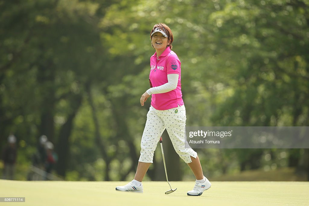 Hiroko Fukushima of Japan smiles during the final round of the CyberAgent Ladies Golf Tournament at the Grand Fields Country Club on May 1, 2016 in Mishima, Japan.