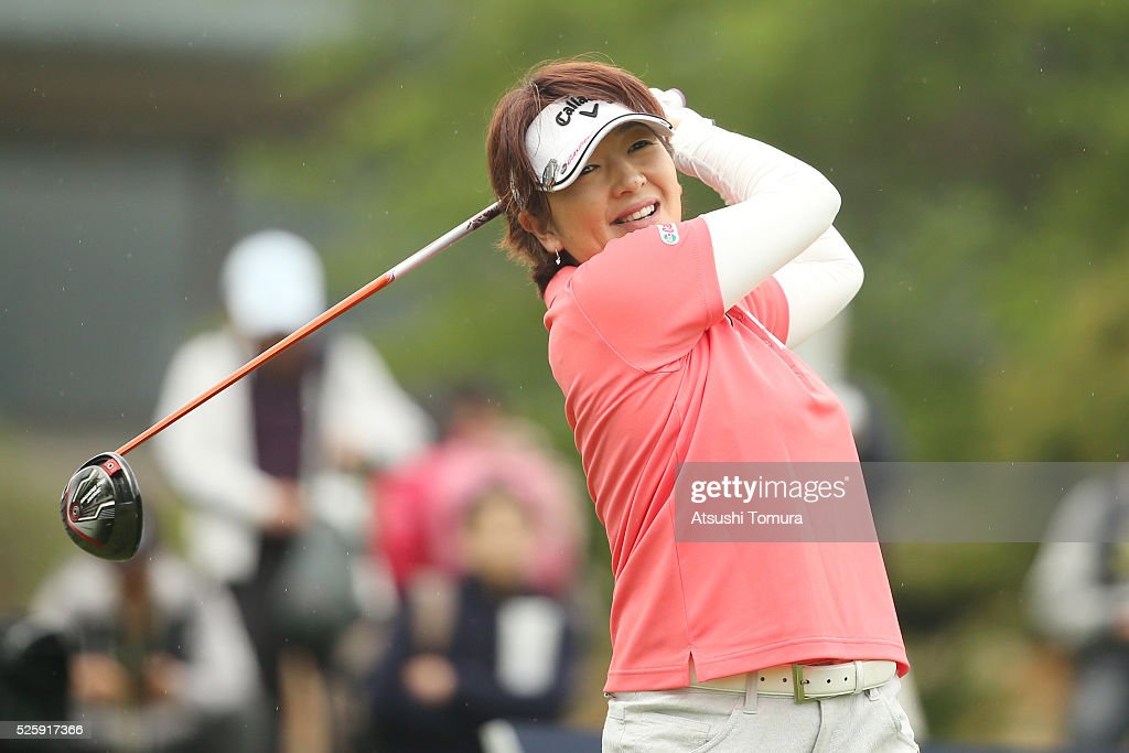 <a gi-track='captionPersonalityLinkClicked' href=/galleries/search?phrase=Hiroko+Fukushima&family=editorial&specificpeople=9192547 ng-click='$event.stopPropagation()'>Hiroko Fukushima</a> of Japan smiles during the first round of the CyberAgent Ladies Golf Tournament at the Grand Fields Country Club on April 29, 2016 in Mishima, Japan.