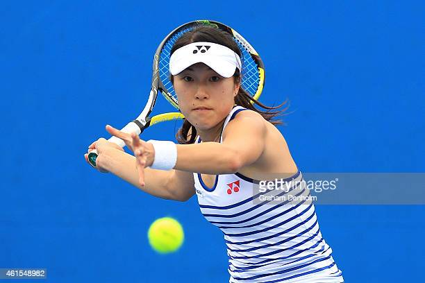 Hiroko Kuwata of Japan plays a forehand in her qualifying match against Anastasiya Vasylyeva of Ukraine for the 2015 Australian Open at Melbourne...