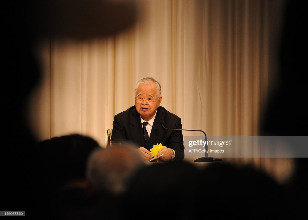 Hiromasa Yonekura, chairman of Keidanren (the Japan Business Federation) speaks before press after a New Year's party, hosted by Japan's three economic organizations at a Tokyo hotel on January 7, 2013. Japan's major business lobbies said they support Prime Minister Abe for his efforts to revive the dwindling economy, urging him an early participation in a Pacific-wide free trade deal.