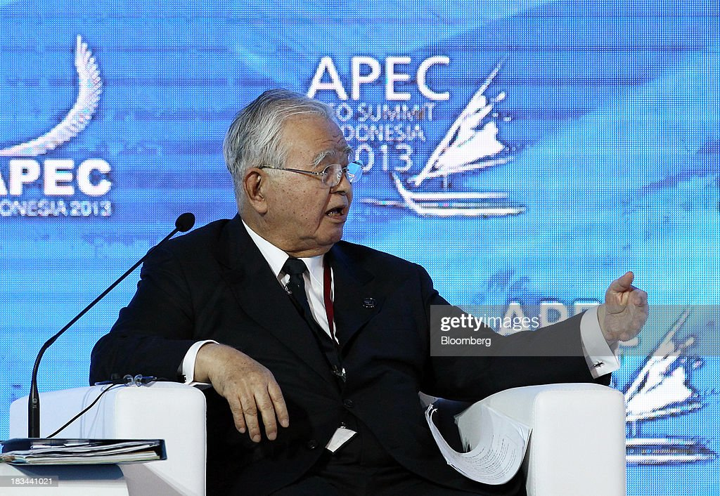 Hiromasa Yonekura, chairman of Sumitomo Chemical Co., speaks during a panel discussion at the Asia-Pacific Economic Cooperation (APEC) CEO Summit in Nusa Dua, Bali, Indonesia, on Sunday, Oct. 6, 2013. Global growth will probably be slower and less balanced than desired, ministers from the APEC member economies said as they agreed to refrain from raising new barriers to trade and investment. Photographer: SeongJoon Cho/Bloomberg via Getty Images