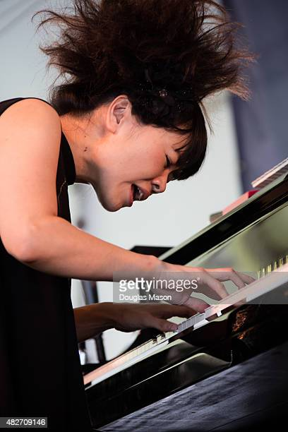 Hiromi and the Trio Project perform during the 2015 Newport Jazz Festival at Fort Adams State Park on August 1 2015 in Newport Rhode Island
