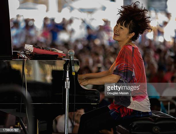 Hiromi The Trio Project performs during the Newport Jazz Festival 2013 at Fort Adams State Park on August 4 2013 in Newport Rhode Island