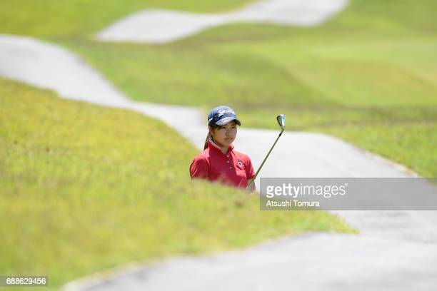 Hiromu Ono of Japan hits her second shot on the 18th hole during the first round of the Resorttrust Ladies at the Oakmont Golf Club on May 26 2017 in...