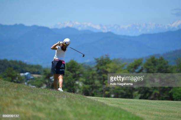 Hiromu Ono of Japan hits her second shot on the 9th hole during the final round of the Route Inn Cup Ueda Maruko Granvrio Ladies at Grandvrio Golf...