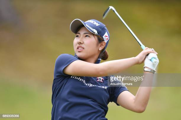 Hiromu Ono of Japan hits her tee shot on the 3rd hole during the final round of the Resorttrust Ladies at the Oakmont Golf Club on May 28 2017 in...