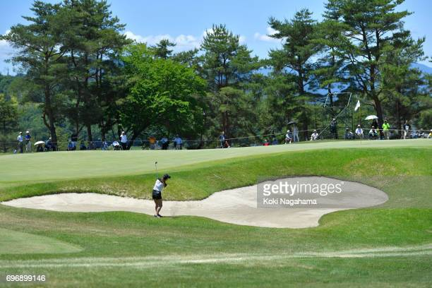 Hiromu Ono of Japan hits her third shot on the 9th hole during final round of the Route Inn Cup Ueda Maruko Granvrio Ladies at Grandvrio Golf Club...