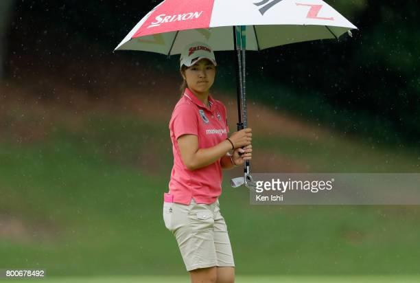 Hiromu Ono of Japan is seen on the 9th green during the final round of the Yupiteru The Shizuoka Shimbun SBS Ladies at the Shizuoka Country Hamaoka...