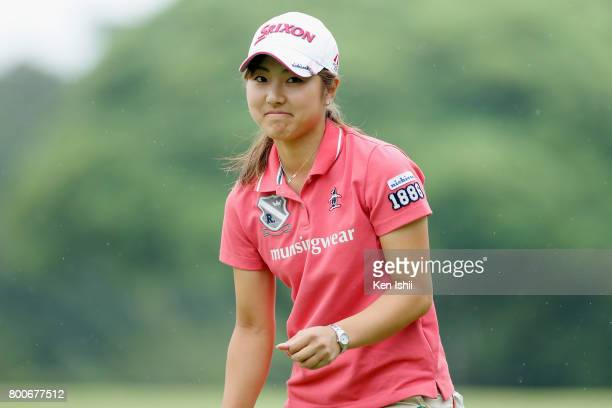 Hiromu Ono of Japan smiles on the 18th hole during the final round of the Yupiteru The Shizuoka Shimbun SBS Ladies at the Shizuoka Country Hamaoka...