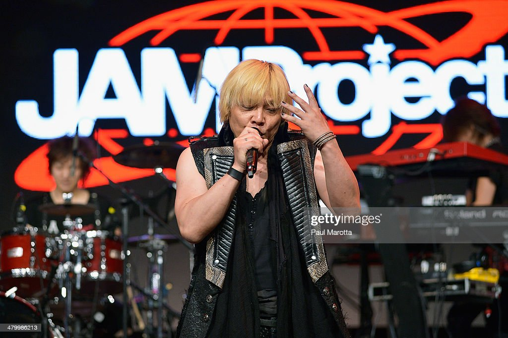 Hironobu Kageyama of the Japanese band JAM Project (Japan Animation-song Makers) perform on Day 1 of the Anime Boston 2014 convention attended by more than 22,000 Anime fans at Hynes Convention Center on March 21, 2014 in Boston, Massachusetts.
