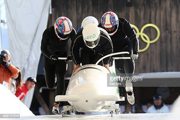 Hiroomi Takahashi Yoshihiro Toyama Hiroki Koda and Yasushi Abe compete in the four man's bobsleigh during All Japan Bobsleigh Skeleton and Luge...