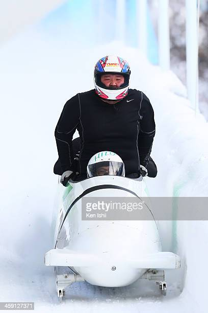 Hiroomi Takahashi Yoshihiro Toyama Hiroki Koda and Yasushi Abe competes in the four man's bobsleigh during All Japan Bobsleigh Skeleton and Luge...