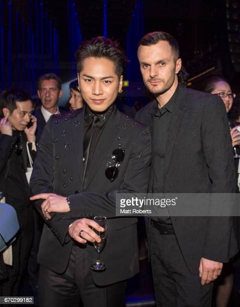 Hiroomi Tosaka and Creatiive Director of Dior Homme Kris Van Assche attend the Dior Homme 2017 Fall Presentation at Differ Ariake on April 19 2017 in...