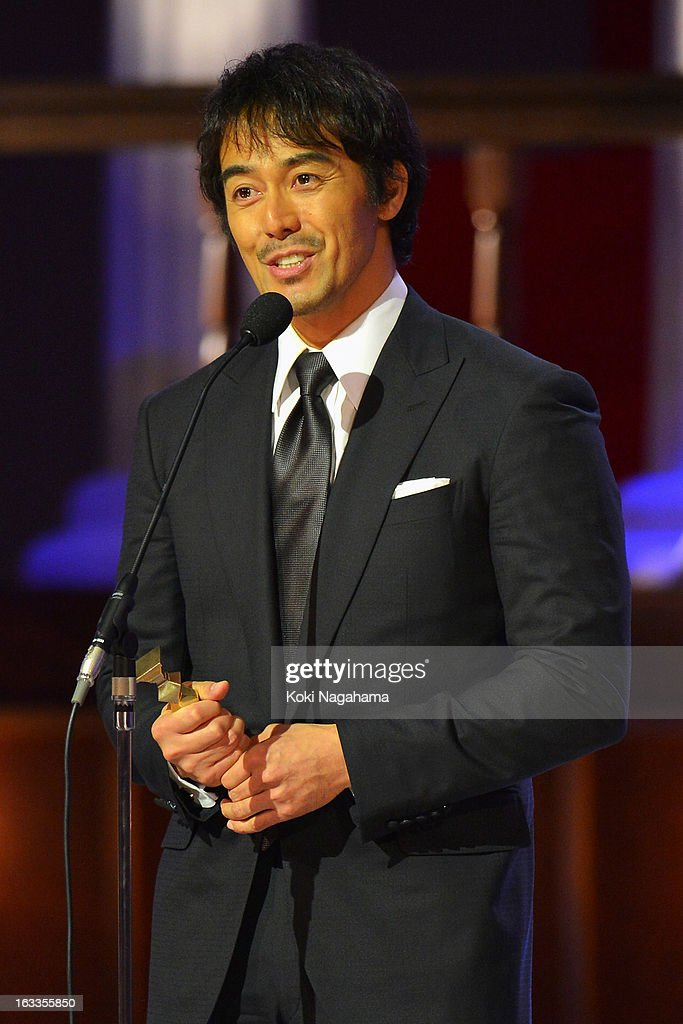 Hiroshi Abe accepts Best Actor in a Leading Role Award during the 36th Japan Academy Prize Award Ceremony at Grand Prince Hotel Shin Takanawa on March 8, 2013 in Tokyo, Japan.
