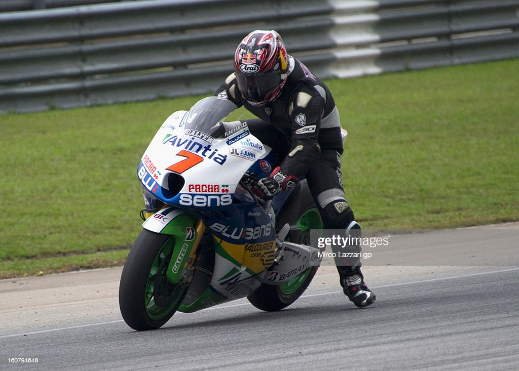Hiroshi Aoyama of Japan and Avintia Blusens heads down a straight during the MotoGP Tests in Sepang - Day Four at Sepang Circuit on February 6, 2013 in Kuala Lumpur, Malaysia.