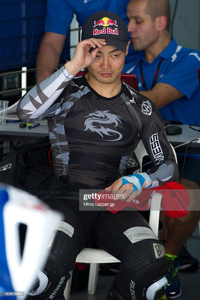 <a gi-track='captionPersonalityLinkClicked' href=/galleries/search?phrase=Hiroshi+Aoyama&family=editorial&specificpeople=565531 ng-click='$event.stopPropagation()'>Hiroshi Aoyama</a> of Japan and Avintia Blusens looks on in the box during day one of MotoGP Tests at Sepang Circuit on February 26, 2013 in Kuala Lumpur, Malaysia.