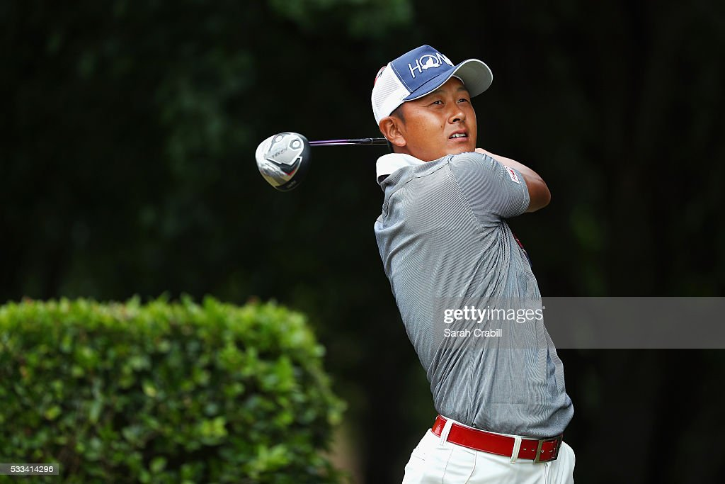Hiroshi Iwata of Japan plays his shot from the first tee during the Final Round at ATT Byron Nelson on May 22 2016 in Irving Texas