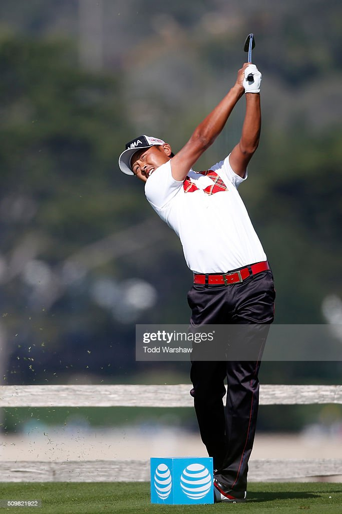 <a gi-track='captionPersonalityLinkClicked' href=/galleries/search?phrase=Hiroshi+Iwata&family=editorial&specificpeople=4696166 ng-click='$event.stopPropagation()'>Hiroshi Iwata</a> of Japan plays his tee shot on the seventh hole during the second round of the AT&T Pebble Beach National Pro-Am at the Pebble Beach Golf Links on February 12, 2016 in Pebble Beach, California.