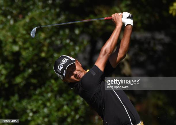 Hiroshi Iwata tees off on the 6th hole during the first round of the Wyndham Championship on August 18 2017 at Sedgefield Country Club in Greensboro...