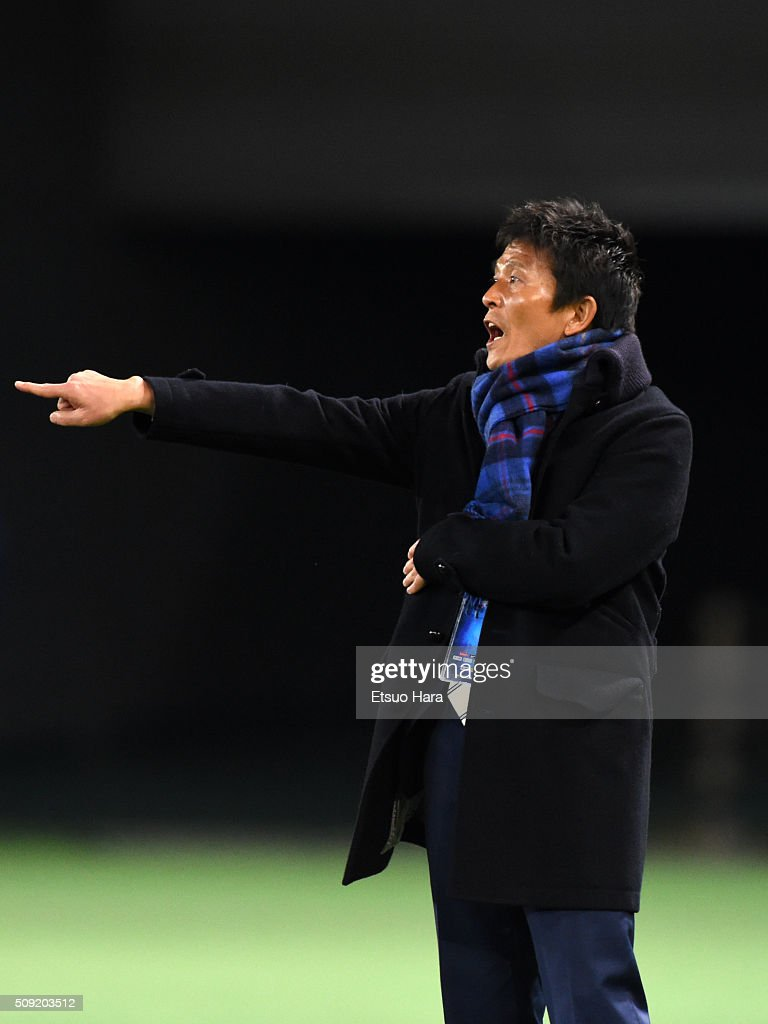 Hiroshi Jofuku,coach of FC Tokyo gestures during the AFC Champions League playoff round match between FC Tokyo and Chonburi FC at the Tokyo Stadium on February 9, 2016 in Chofu, Japan.