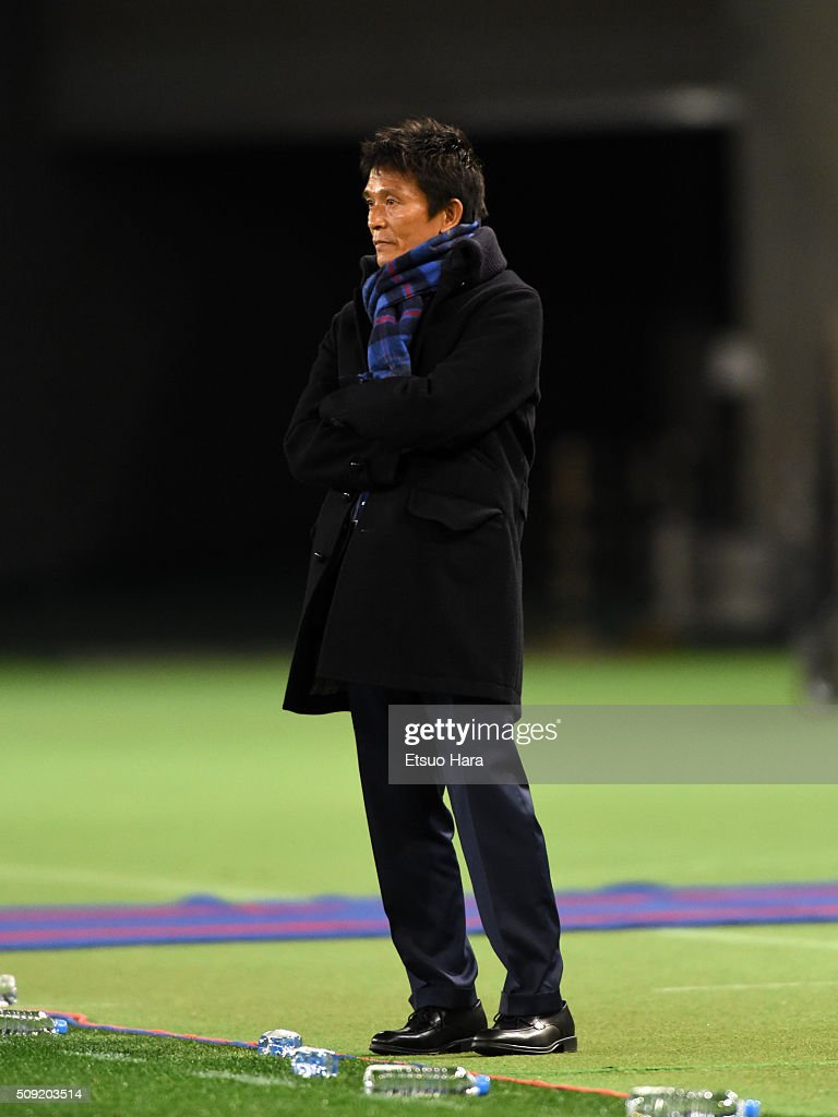 Hiroshi Jofuku,coach of FC Tokyo looks on during the AFC Champions League playoff round match between FC Tokyo and Chonburi FC at the Tokyo Stadium on February 9, 2016 in Chofu, Japan.