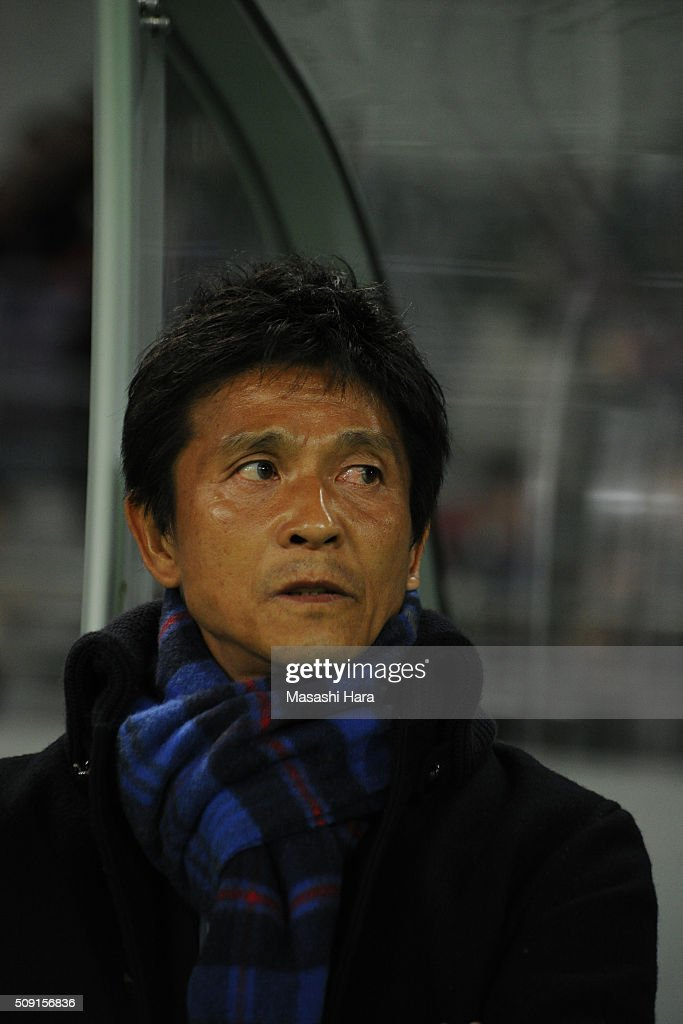 Hiroshi Jofuku,coach of FC Tokyo looks on prior to the AFC Champions League playoff round match between FC Tokyo and Chonburi FC at the Tokyo Stadium on February 9, 2016 in Chofu, Japan.