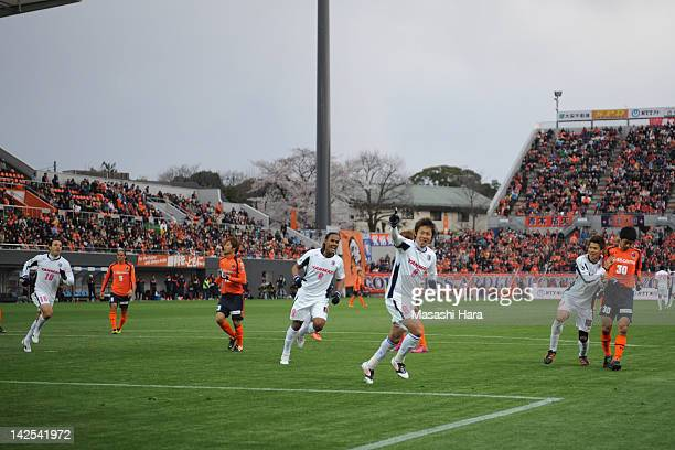 Hiroshi Kiyotake of Cerezo Osaka celebrates after scoring the opening goal during the JLeague match between Omiya Ardija and Cerezo Osaka at Nack 5...