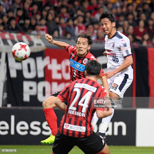 Hiroshi Kiyotake of Cerezo Osaka heads the ball during the JLeague J1 match between Consadole Sapporo and Cerezo Osaka at Sapporo Dome on March 11...
