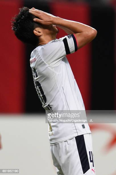 Hiroshi Kiyotake of Cerezo Osaka reacts after missing a chance during the JLeague J1 match between Consadole Sapporo and Cerezo Osaka at Sapporo Dome...