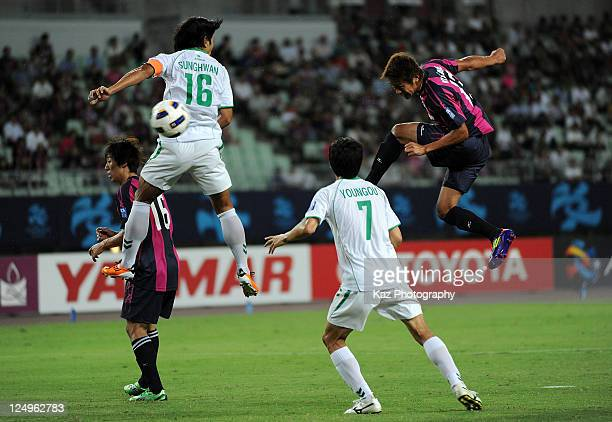 Hiroshi Kiyotake of Cerezo Osaka scores the second goal during the AFC Champions League Quarter final first leg match between Cerezo Osaka and...