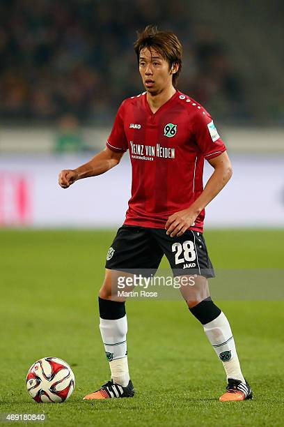 Hiroshi Kiyotake of Hannover 96 during the Bundesliga match between Hannover 96 and Hertha BSC at HDIArena on April 10 2015 in Hanover Germany