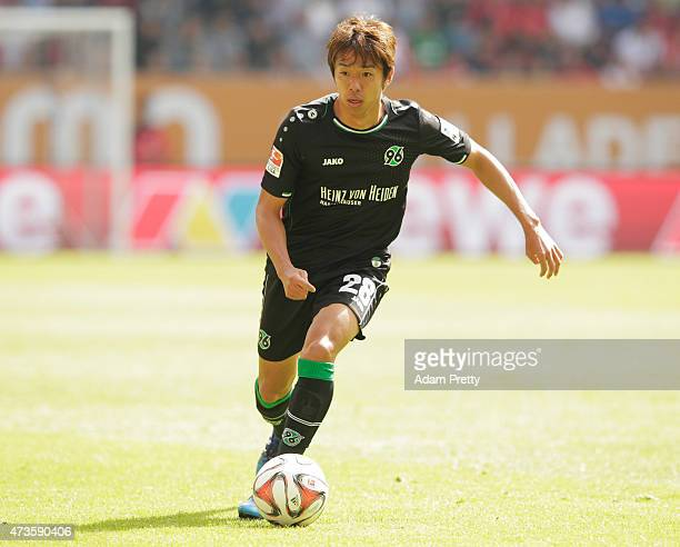 Hiroshi Kiyotake of Hannover 96 in action during the Bundesliga match between FC Augsburg and Hannover 96 at SGL Arena on May 16 2015 in Augsburg...