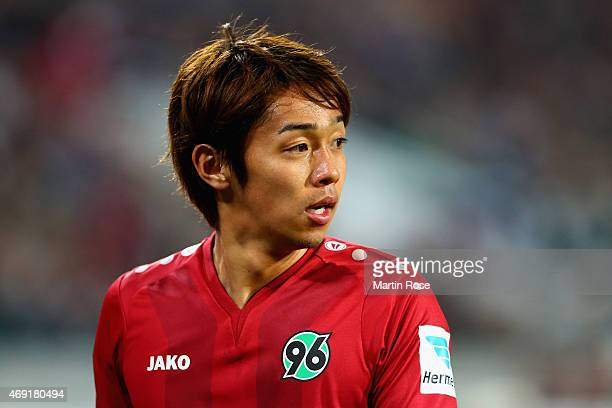Hiroshi Kiyotake of Hannover 96 reacts during the Bundesliga match between Hannover 96 and Hertha BSC at HDIArena on April 10 2015 in Hanover Germany